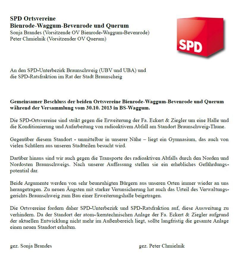 Resolution zweier SPD Ortsvereine gegen Eckert und Ziegler