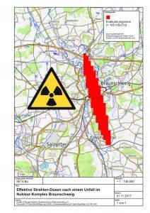 Plot der Unfall Ausbreitungswolke; Darstellung radioaktiver Fallout; Braunschweig, OpenStreetMap Karte